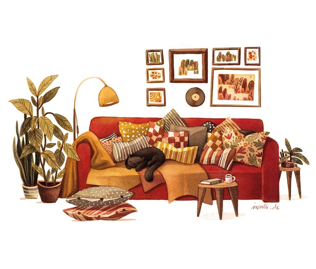 2_red couch with too many pillows and a cat, watercolors and colored pencils on paper, 2018