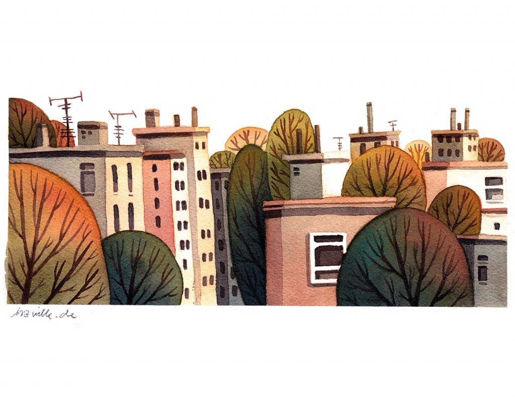 2_rooftops and autumn trees, watercolors and colored pencils on paper, 2017